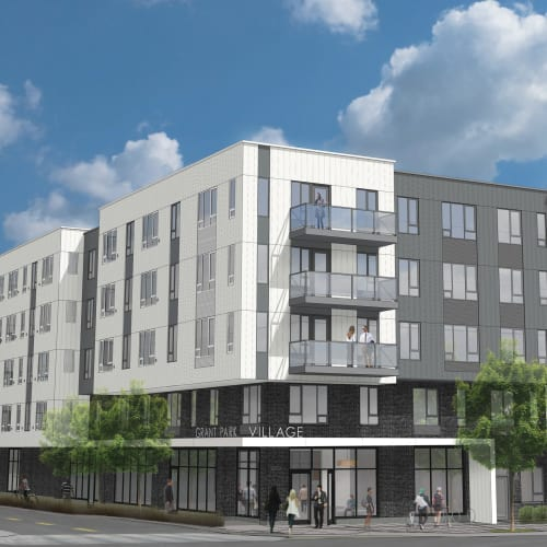 Exterior rendering of the Quimby at Grant Park Village in Portland, OR