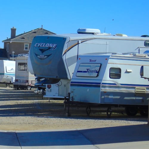 RV parking at A-American Self Storage in Palmdale, California