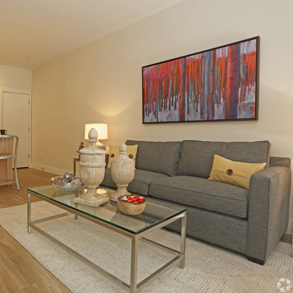Resident living room with hardwood flooring at Mountain Trail in Flagstaff, Arizona