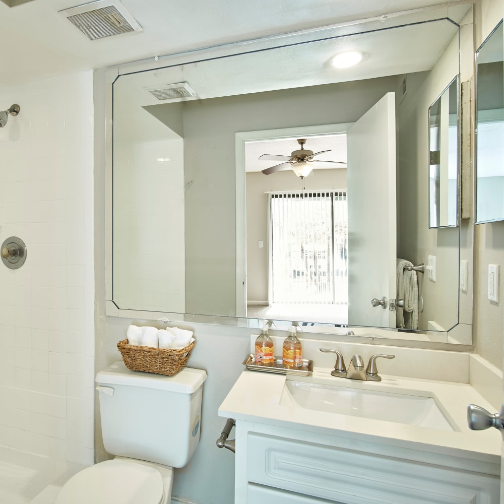 A bathroom with a large vanity mirror at Westwood @60 in Brandon, Florida