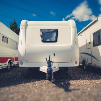 Trailers parked at Storage Star Mopac in Austin, Texas