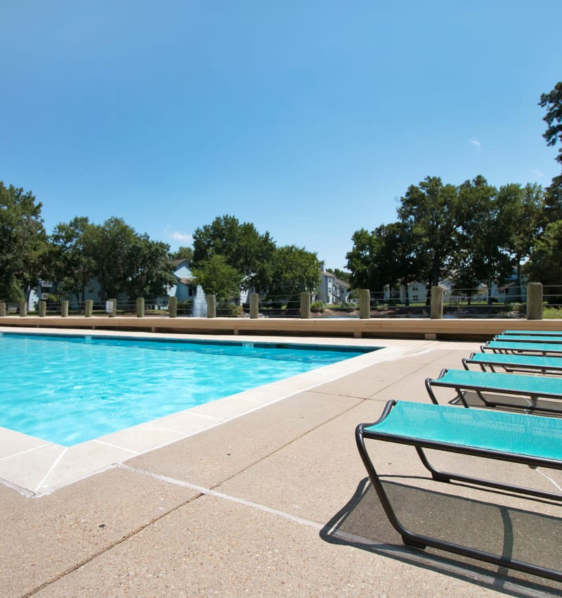 Sparkling swimming pool at Runaway Bay Apartments in Virginia Beach, Virginia