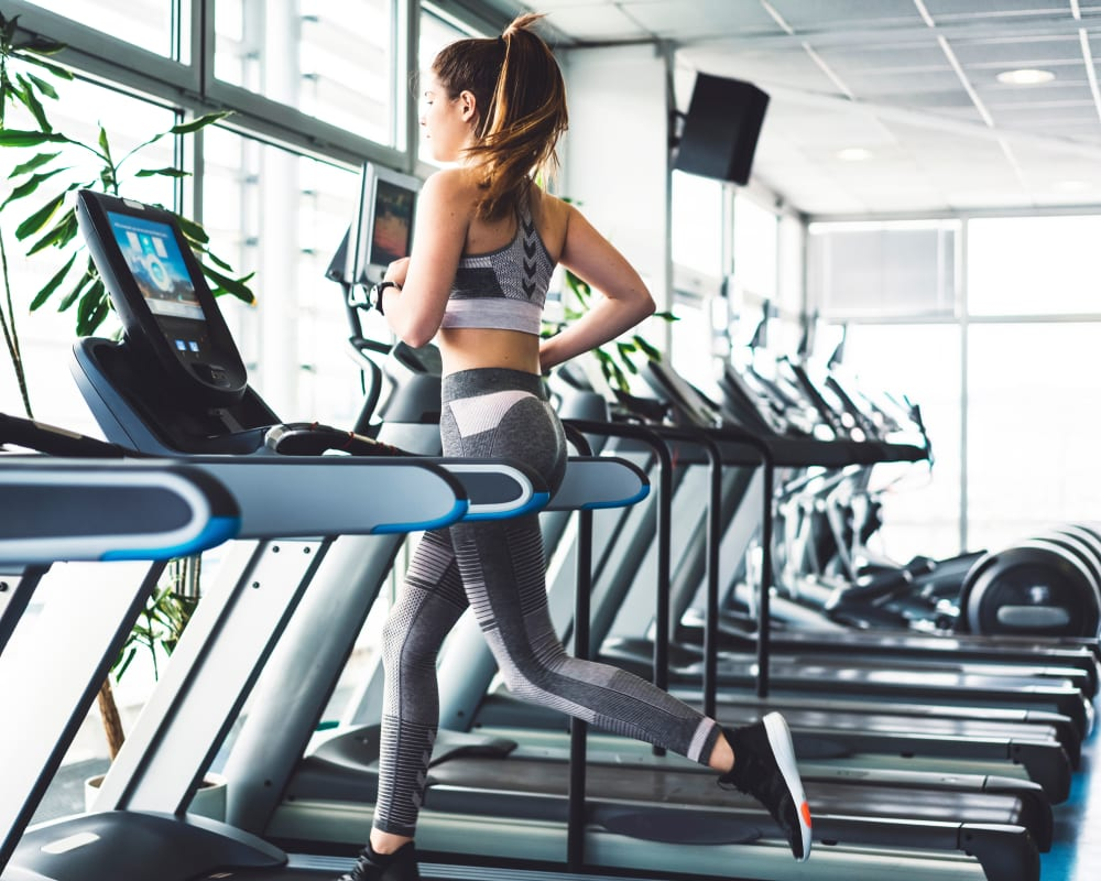 Resident working out at Presidential Place Apartments' fitness center in Lebanon, New Jersey