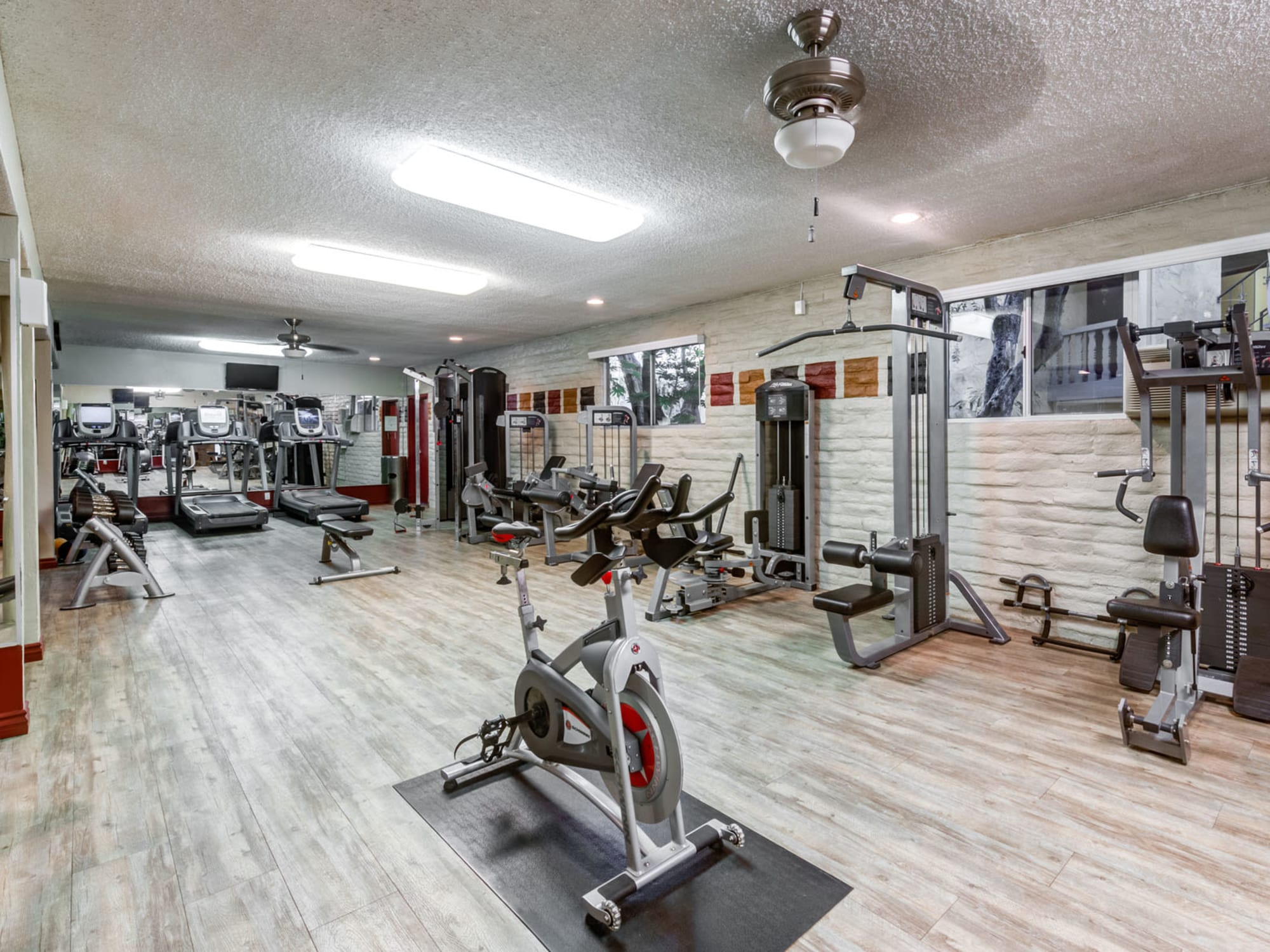 Very well-equipped onsite fitness center at Mediterranean Village in West Hollywood, California