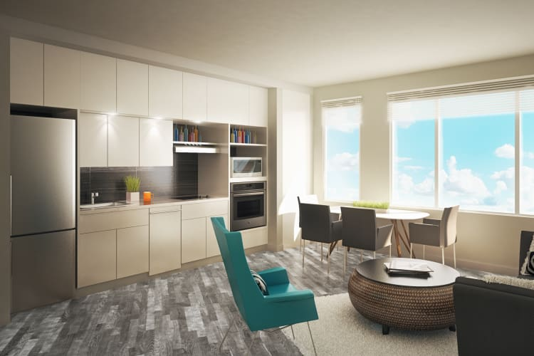 Interior studio apartment rendering at AdMo Heights in Washington, DC