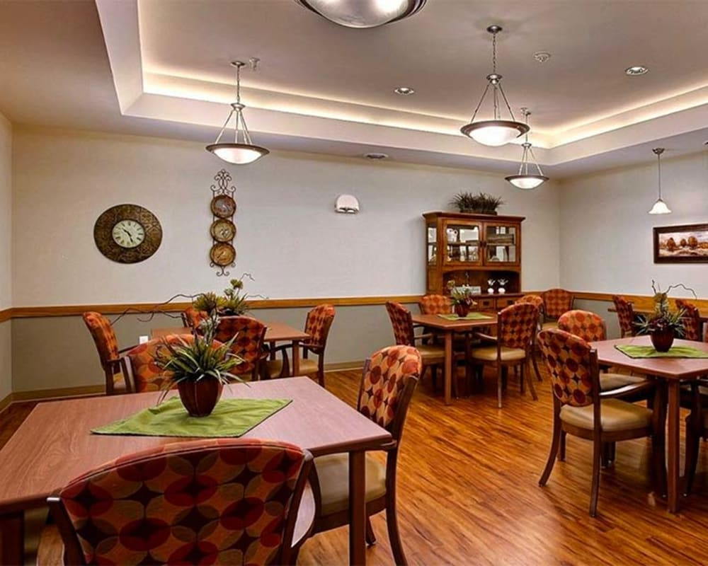 Large resident dining room at Milestone Senior Living in Hillsboro, Wisconsin.