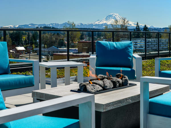 Enjoy Apartments with an Outdoor Fire Pit with views of Mt Rainier at The Verge in Auburn, WA