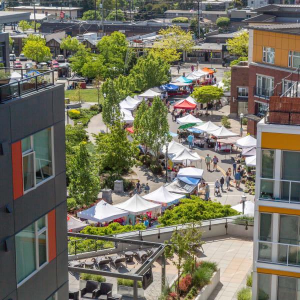 Aerial view of the farmers market near The Maverick in Burien, Washington