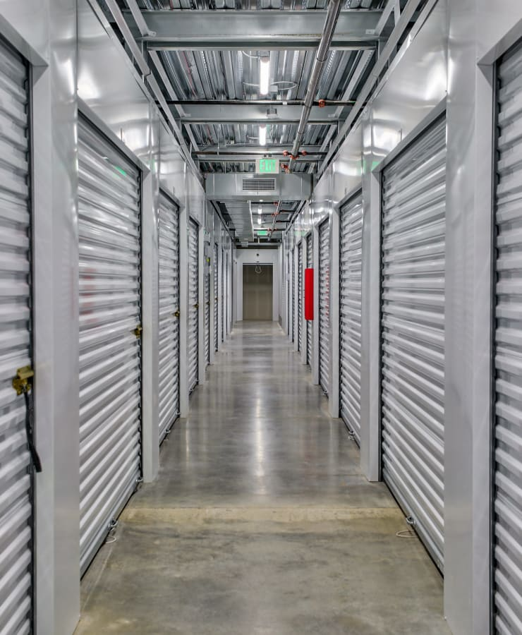 Interior steel storage untis at StorQuest Self Storage in Denver, Colorado