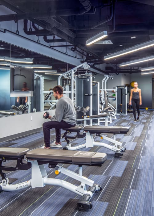 Fully equipped fitness center at RISE at Riverfront Crossings in Iowa City, Iowa