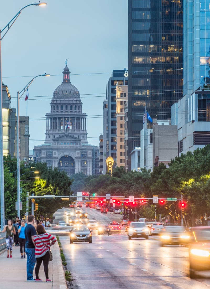Downtown Austin at sunset near Marquis at Caprock Canyon in Austin, Texas