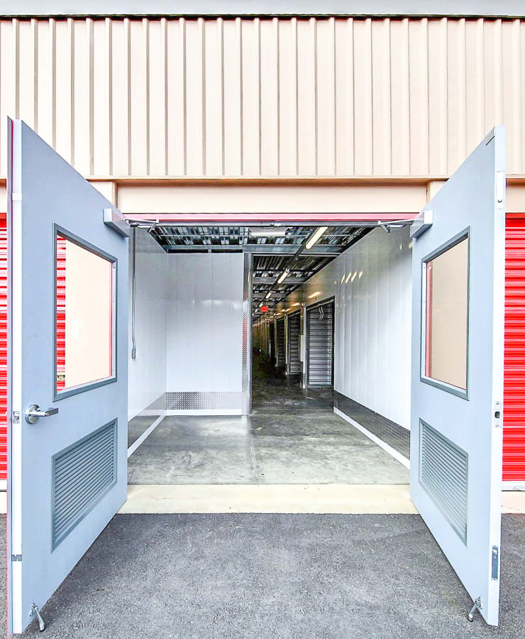 Doors leading inside the facility at StorQuest Self Storage in Los Angeles, California
