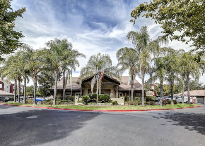 View of the entrance to our community at Eaglewood Apartments in Woodland, California