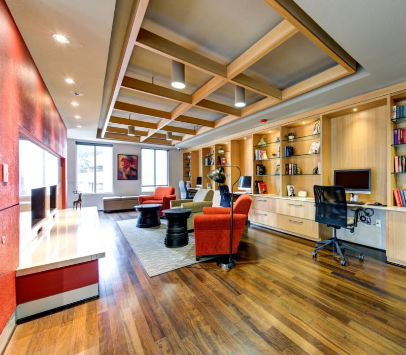 Community clubhouse with wood floors at The Marq on West 7th in Fort Worth, Texas