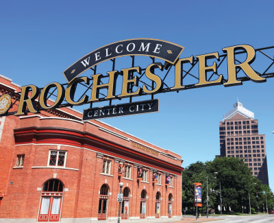 Welcome sign of Rochester, New York near The Nathaniel
