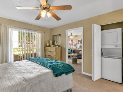 An apartment bedroom at The Braxton in Palm Bay, Florida