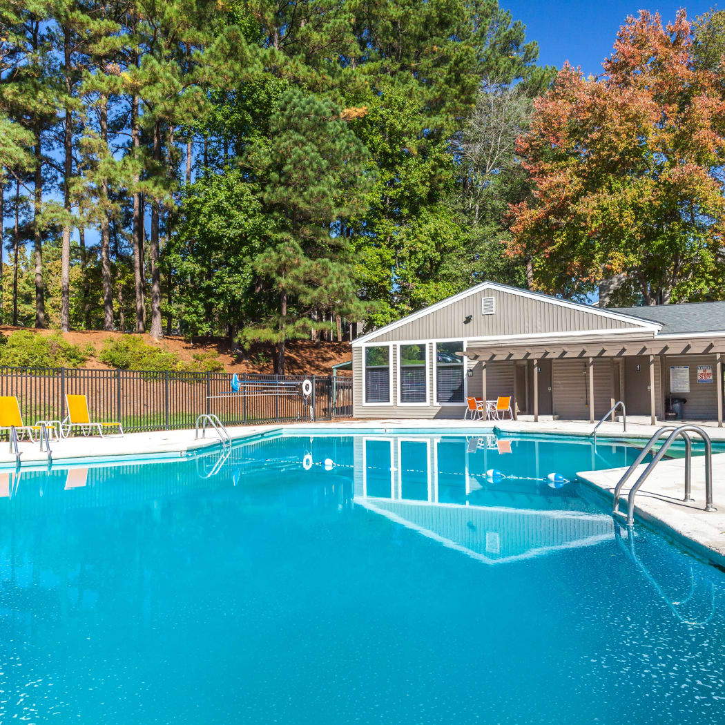 Beautiful swimming pool at Villages of Lake Boone Trail in Raleigh, North Carolina