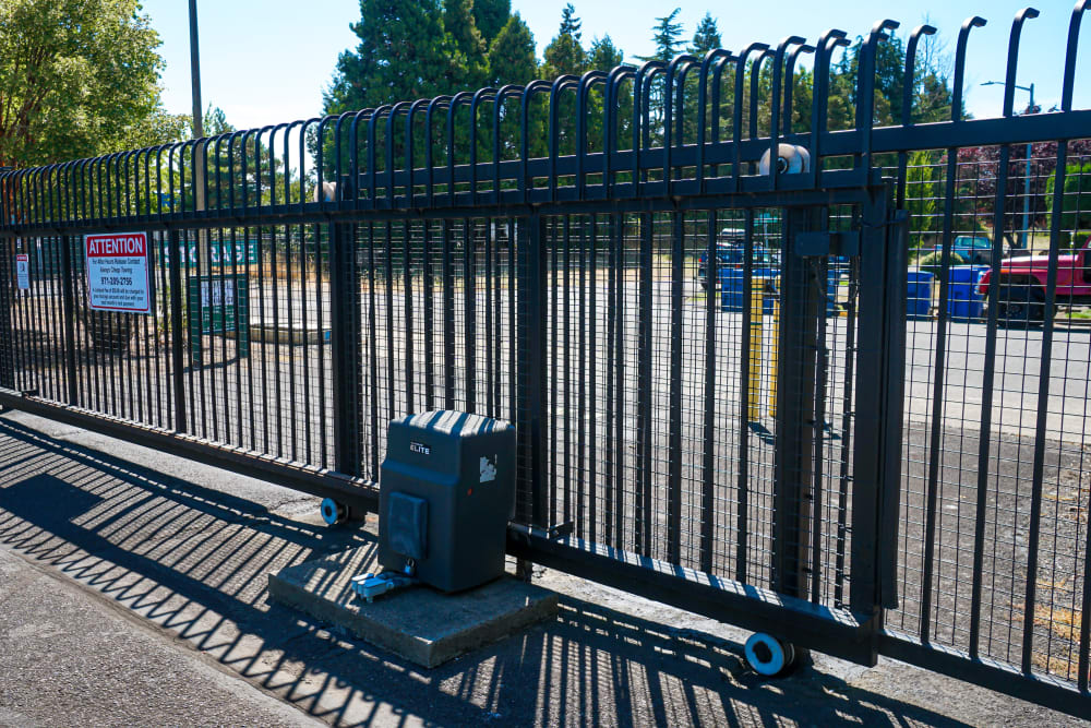 The secure gate at Security First Storage in Salem, Oregon