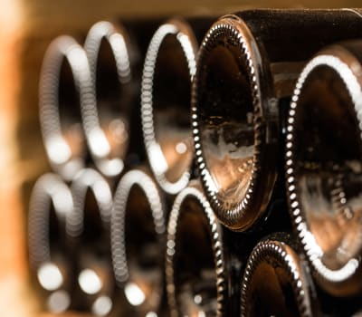 Bottles of wine being stored at The Wine Grotto in Pasadena, California