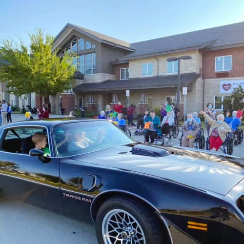Muscle car rally at The Oxford Grand Assisted Living & Memory Care in McKinney, Texas