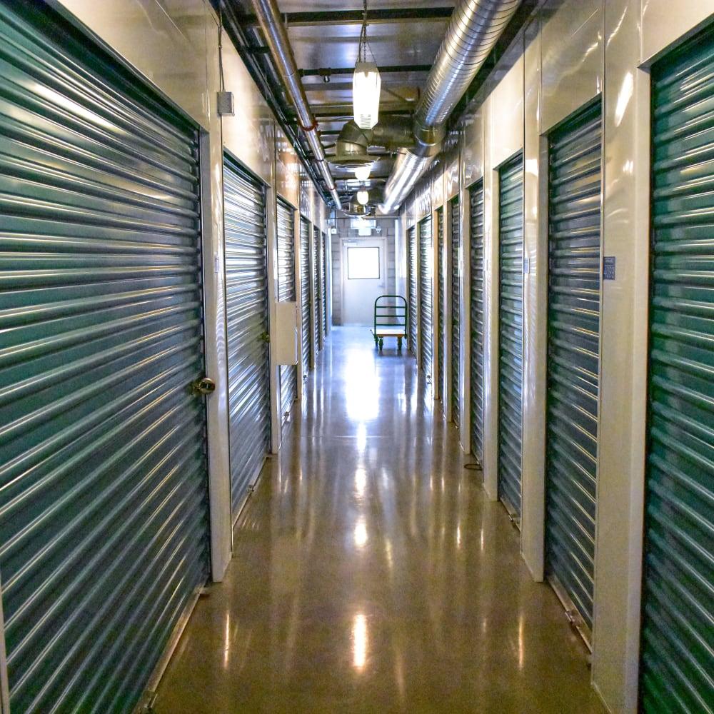 Interior storage units at STOR-N-LOCK Self Storage in Redlands, California