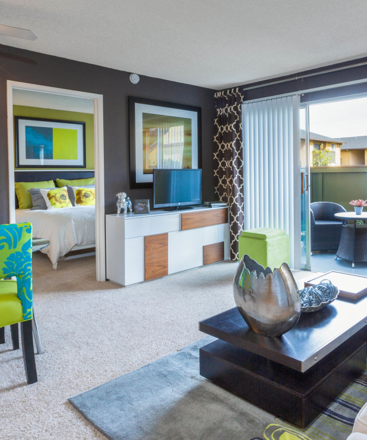 Open-concept living space with plush carpeting and modern furnishings in a model home at The Landmark Apartment Homes in Sunnyvale, California