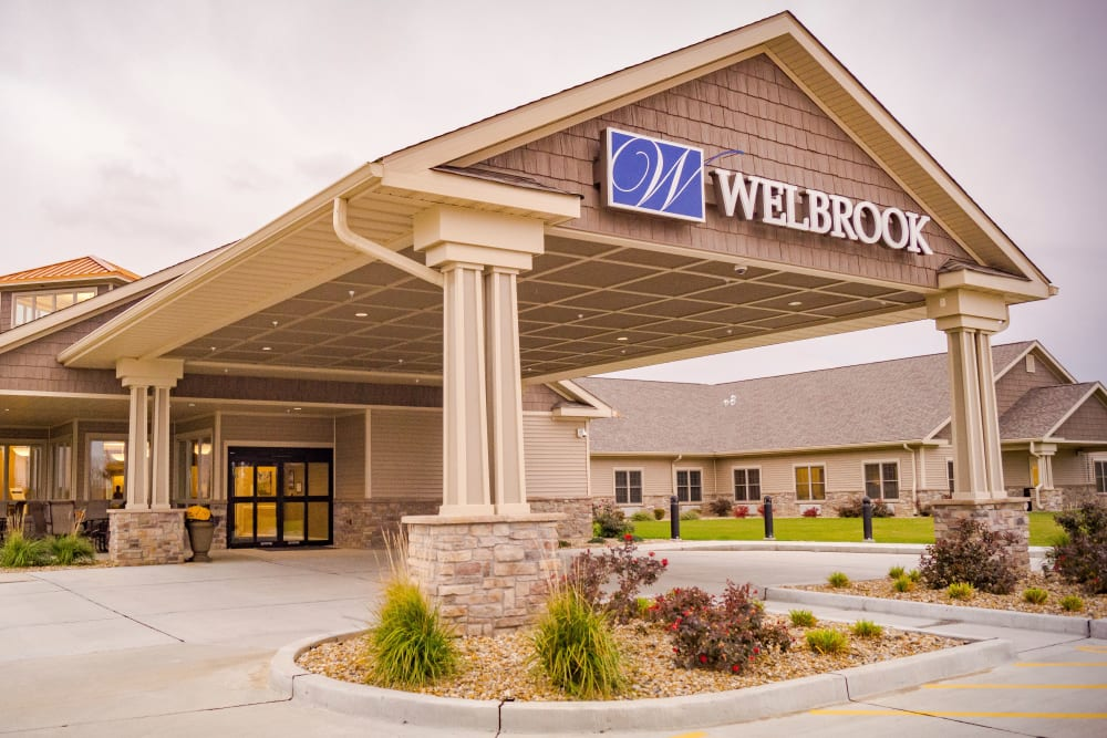 Building facade at Welbrook at Bloomington in Bloomington, Illinois