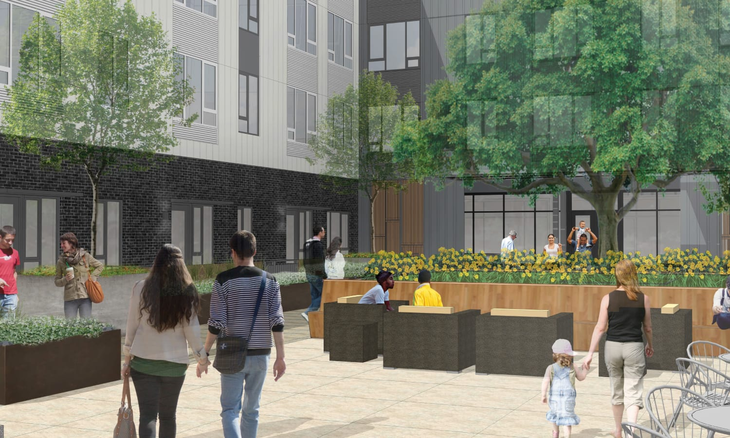 Courtyard view rendering of Grant Park Village - Quimby facing south in Portland, OR