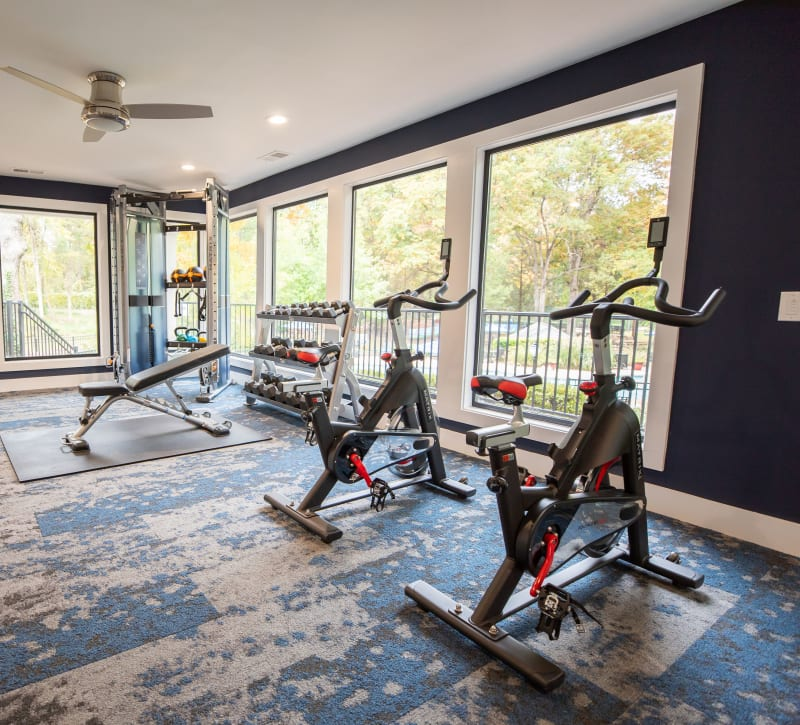 A fitness center with spin bikes at The Corners at Crystal Lake in Winston Salem, North Carolina