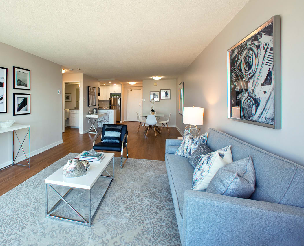 Naturally well-lit living room at Bristol Court in Mississauga, Ontario