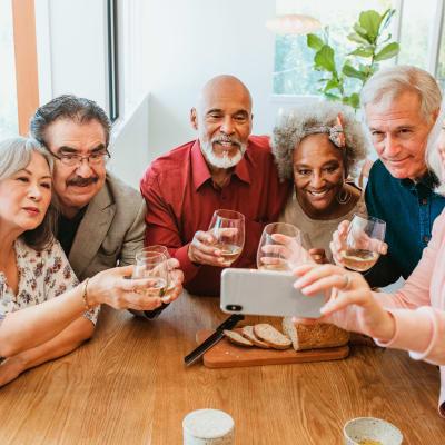 Residents enjoying wine at Arbor Glen Senior Living in Lake Elmo, Minnesota