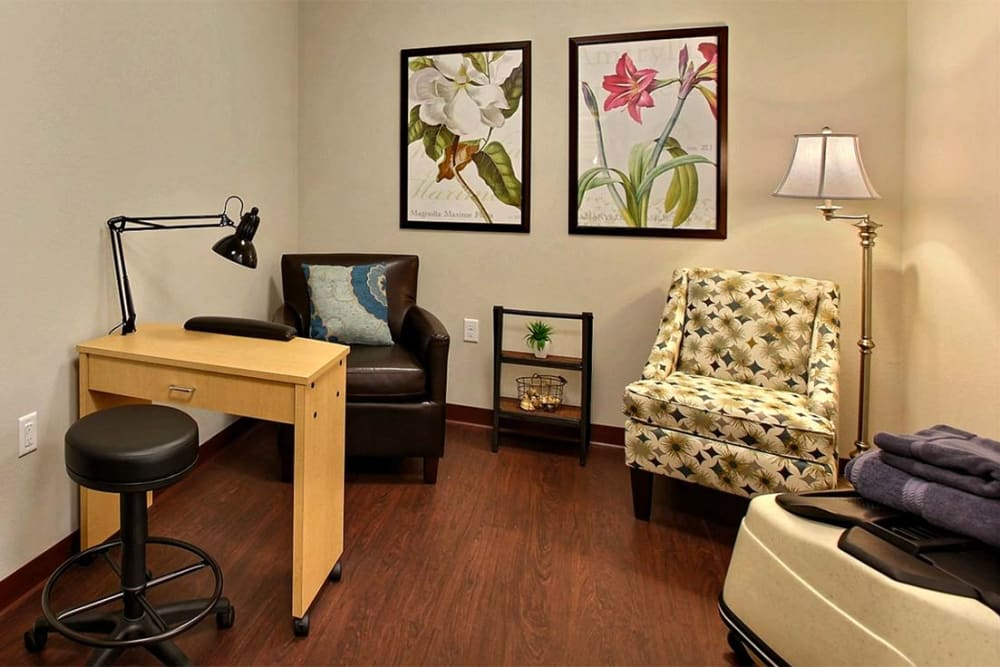 Nail salon for residents at Milestone Senior Living in Woodruff, Wisconsin.