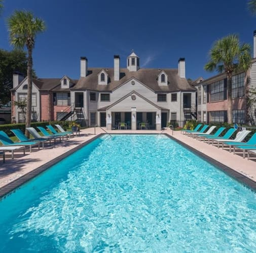 View virtual tour of our swimming pool area at McAlister in Webster, Texas
