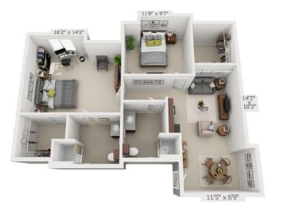 Two-Bedroom floor plans at Pine Grove Crossing in Parker, Colorado