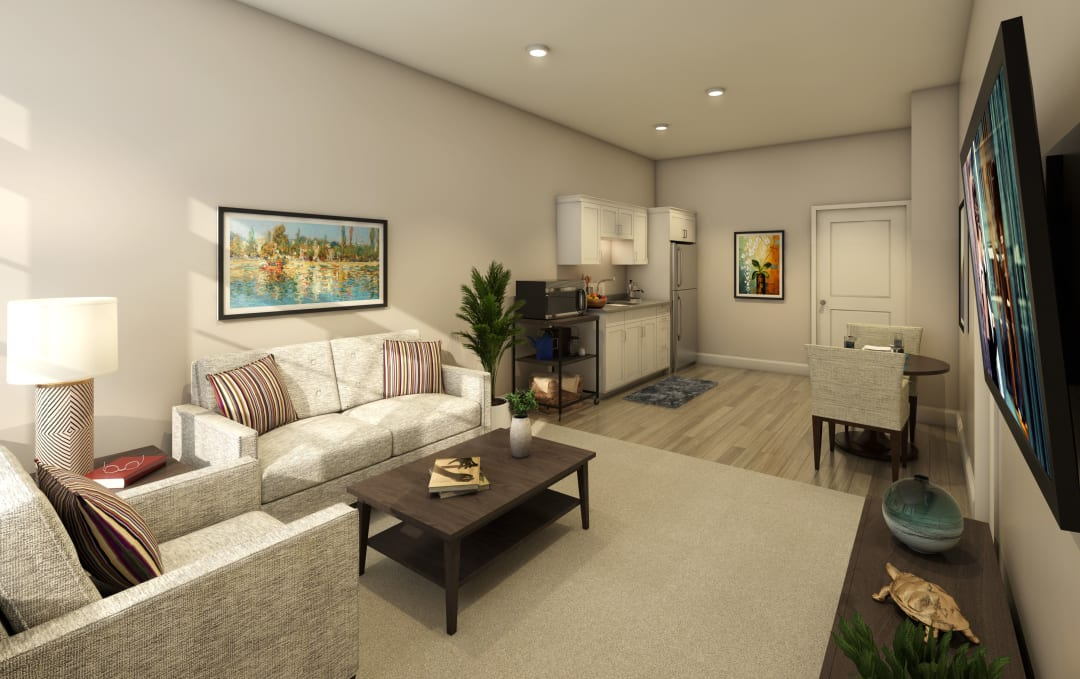 Living room in a model apartment at Anthology of Farmington Hills in Farmington Hills, Michigan