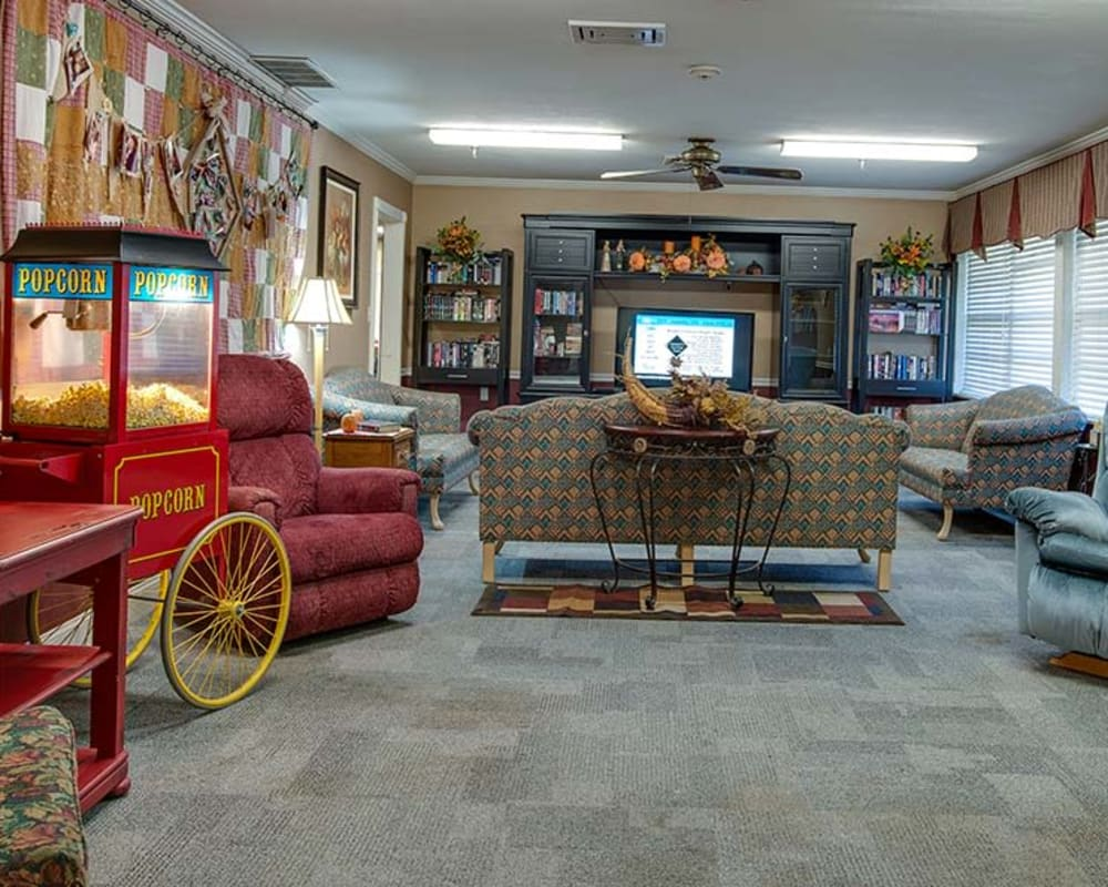 Cozy entertainment room at Wheatland Nursing Center in Russell, Kansas