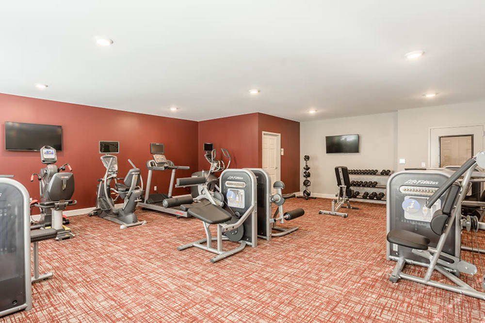 Fitness center at Village Heights Senior Apartments in Fairport, New York