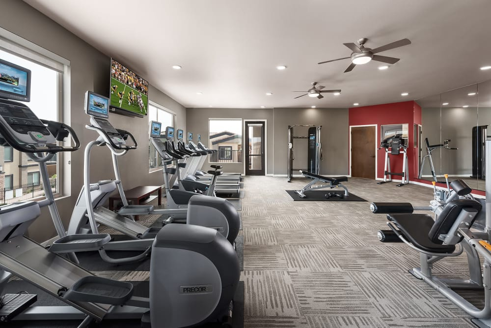 Onsite fitness center at The Maxx 159 in Goodyear, Arizona