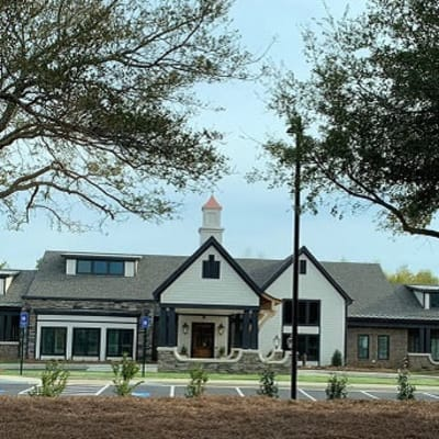 Main entrance and landscaping at Westminster Memory Care in Lexington, South Carolina
