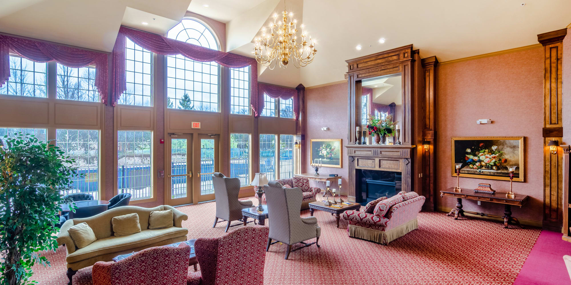 A beautiful lounge area at Central Park Estates in Novi, Michigan