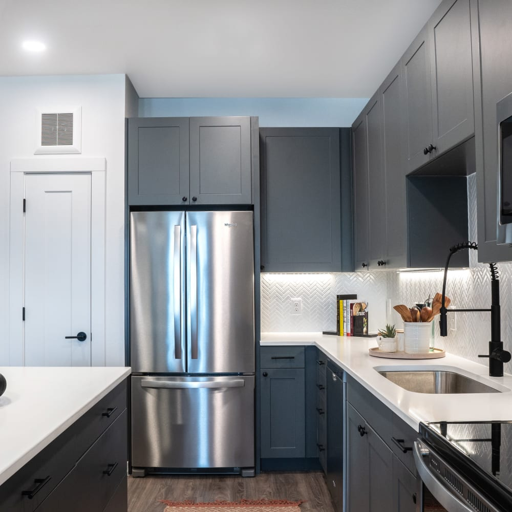 Stainless steel appliances in the kitchen at The Langford in Dallas, Texas
