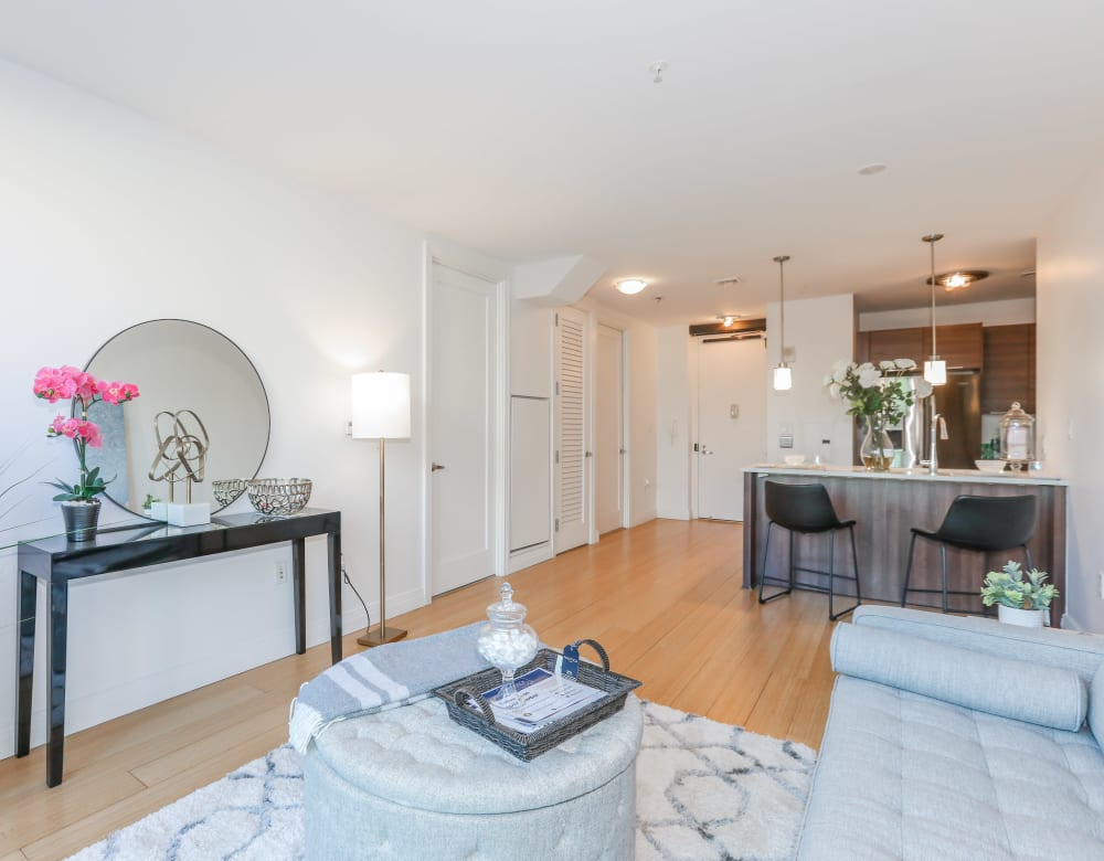 Open living room and kitchen at Monarch at Ridge Hill in Yonkers, New York