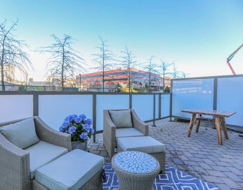Patio lounge area at Monarch at Ridge Hill in Yonkers, New York
