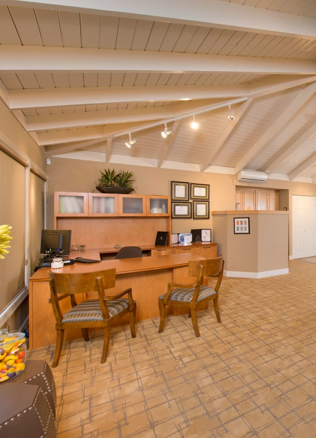 Leasing center with a unique ceiling at Villa Palms Apartment Homes in Livermore, California