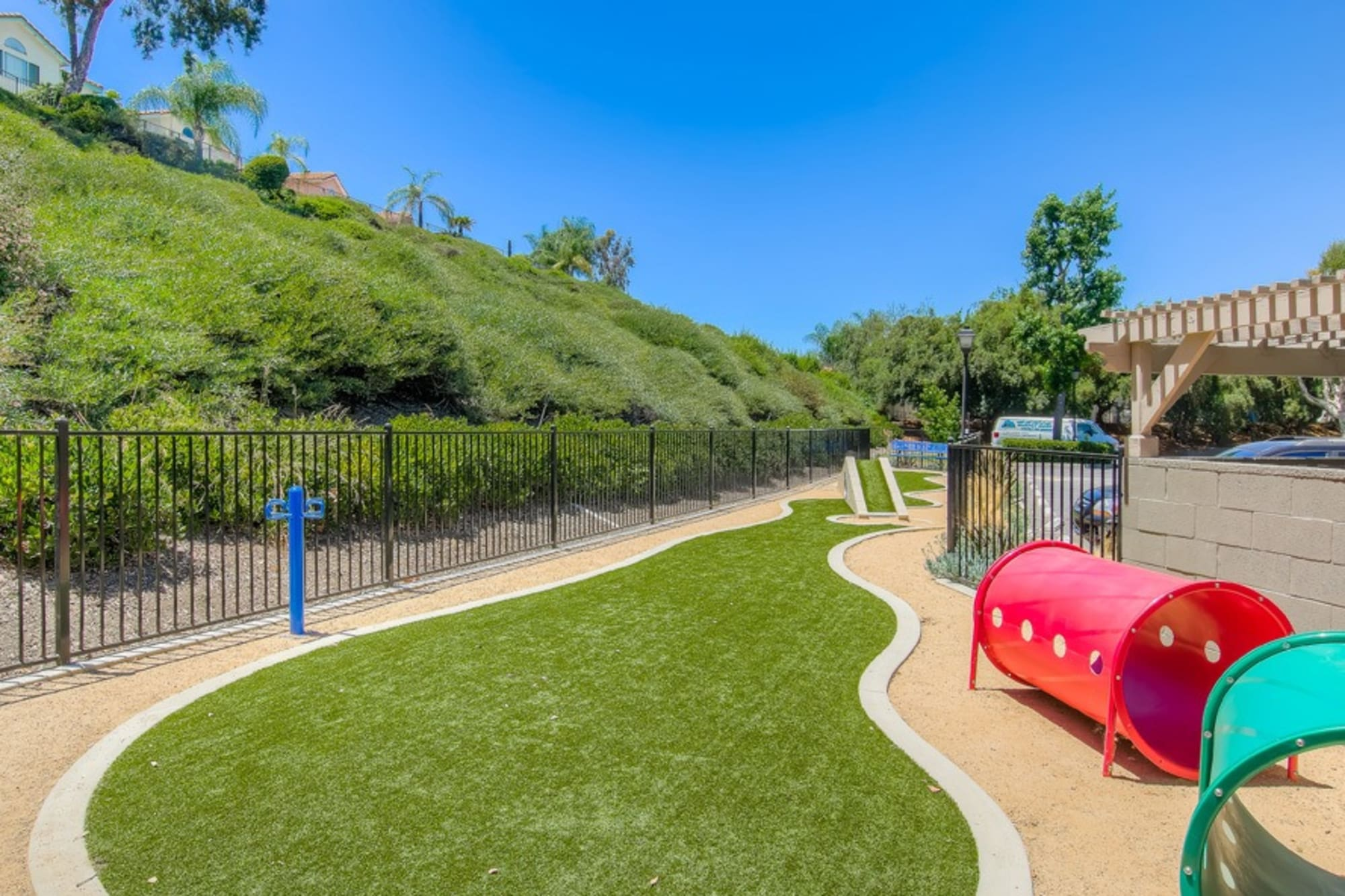 Off-leash dog park at Village Oaks in Chino Hills, California