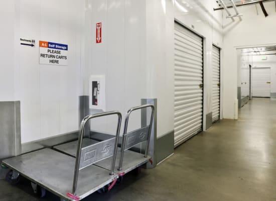 Clean hallways through self storage units at A-1 Self Storage in Alhambra, California