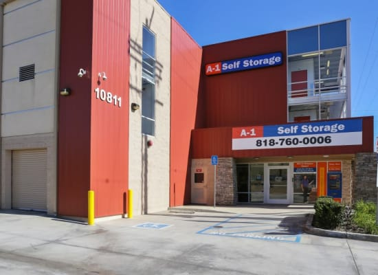 Front entry to A-1 Self Storage in North Hollywood, California