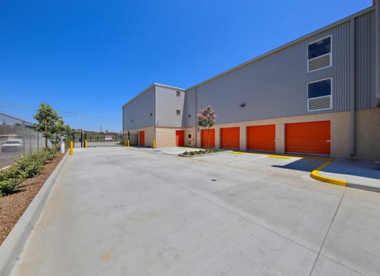 Outdoor units and a wide driveway at A-1 Self Storage in San Diego, California