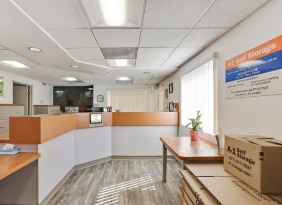 Clean front office at A-1 Self Storage in San Diego, California