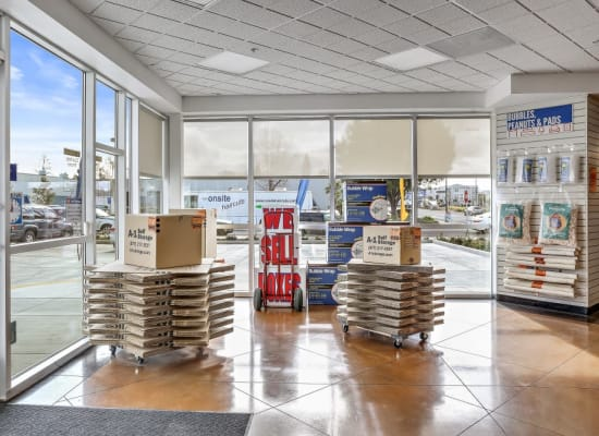 Boxes and packing supplies at A-1 Self Storage in San Jose, California